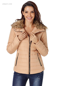Best Women's Collar Trim Black Quilted Jacket Coats for Ladies on Sale
