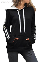 Outerwear Ladies Casual Outerwear Cotton Hoodie with Kangaroo Pocket Women's Petite Outerwear