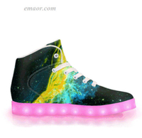 Light Shoes Led Light Up Sneakers Golden Way-APP Controlled High Top LED Shoes Energy Lights Trainers