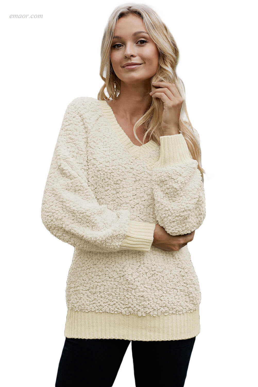 Fashionable Outerwear Men Ribbed Neckline Popcorn Knit Sweater Sweaters & Cardigans on Sale