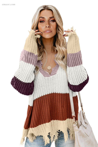 Affordable Colorblock Distressed Sweater Sweaters & Cardigans on Sale
