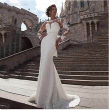 Affordable Long Sleeve Wedding Dresses Lace Applique Bridal Gown Beach Wedding Dresses