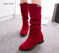 Walmart Female Ladies Height Increased Low Heel Shoes Lady Mid Calf High Boots Female Western Motorcycle Boots