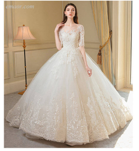 Best O- Neck Wedding Dress Luxury Lace Half Sleeve Lace Up Princess Wedding Gowns