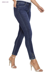 Wholesale Button Detail Wash Skinny Affordable Jeans on Sale
