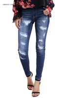 Capri Jeans Wholesale Modern Fashion Distressed Skinny Jeans