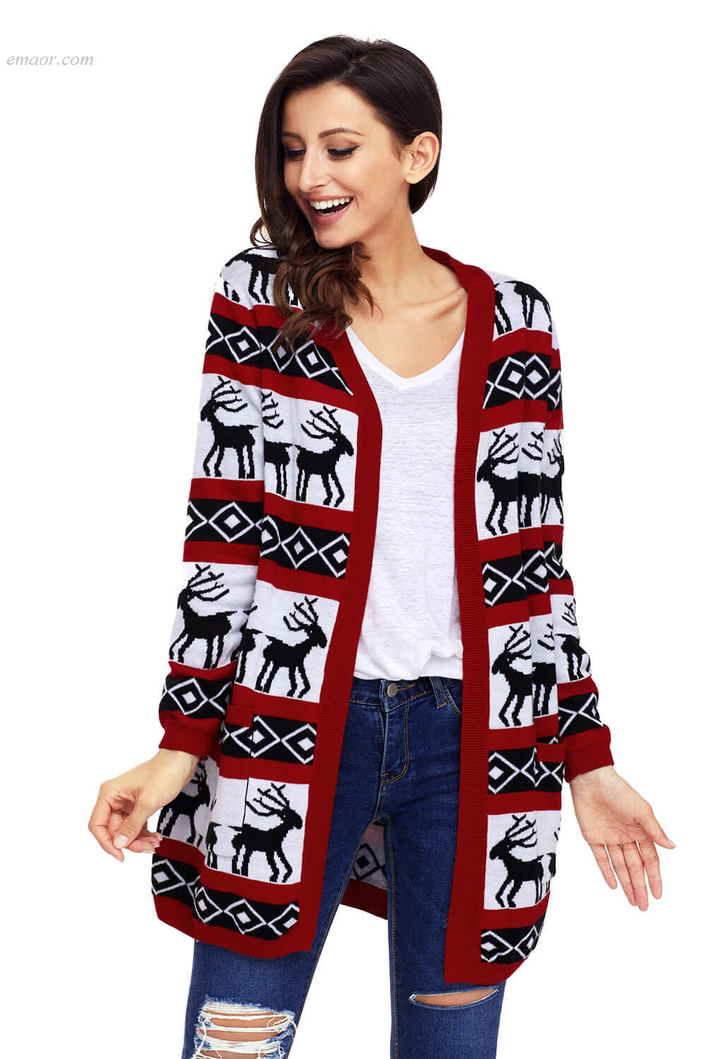 Fashionable Women's Outerwear Reindeer Geometric Christmas Cardigan Best Selling Outerwear Cooper Designer Outerwear
