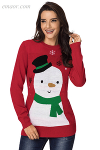 Sweater Christmas for Women Reindeer Red Christmas Spring Outerwear Women's Round Collar Outerwear Sweater