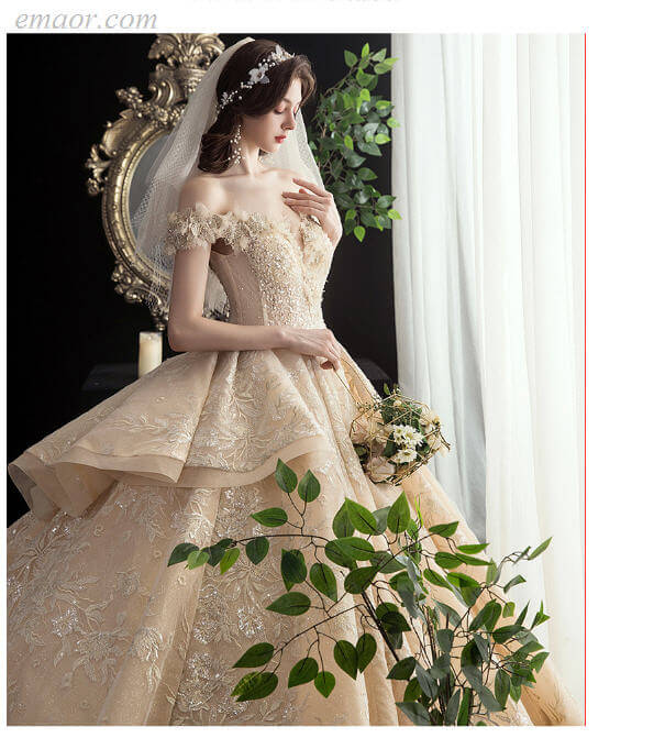 Lace Wedding Dress Off-The-Shoulder Long Champagne Big Tail Lace Dream Luxury Dresses for Wedding