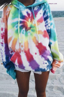 Free Tech Outerwear Oversized Rainbow Tie Dye Hoodie Long Outerwear Vest