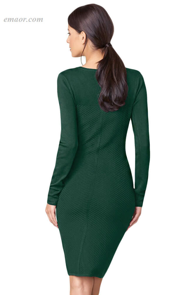 Hot Button Detail Sweater Dress on Sale
