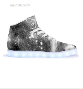 Light Up Running Shoes Black & White Cosmos-App Controlled High Top LED Shoes Led Light Up Sneakers