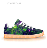 Light Up Running Shoes Green Galaxy -APP Controlled Low Top LED Shoes light up unicorn shoes