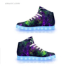 Led Fashion Shoes Green Galaxy-APP Controlled High Top LED Shoes Light Up Shoes for Sale Led Sports Shoes