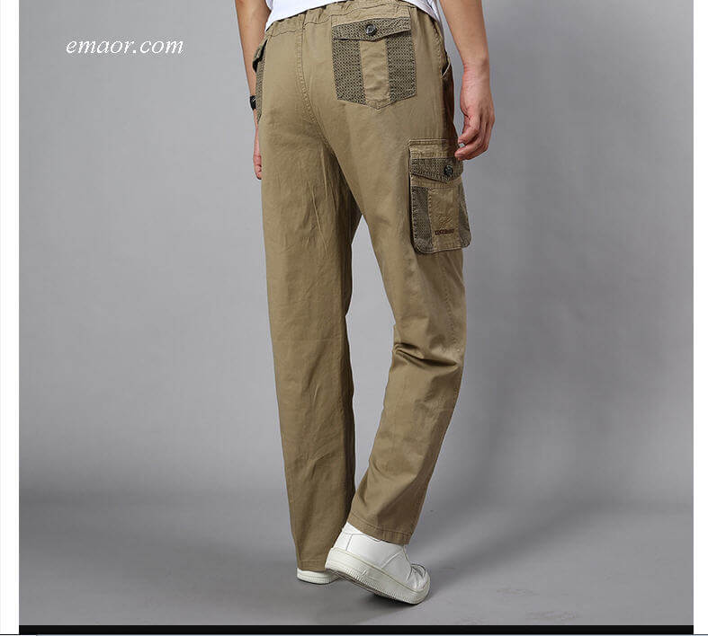 Cheap Big Men's Cargo Pants Casual Men Elastic Waist Multi Pocket Pants on Sale