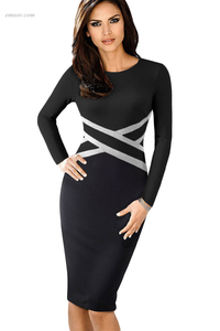Wholesale Royal Blue Contrast Waist Long Sleeve Sheath Midi Dress on Sale