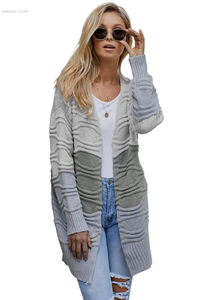 Long Outerwear Winter Women's Designer Walmart Ladies Outerwear Colorblock Knit Cardigan
