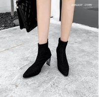 Fashion Women's Western Boots Shine Glitter Stretch Socks Boots Leather Boots for Women