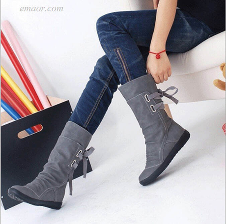 New Mid-Calf Boots Women's Knee High Boots Women Fashion Platform Boots Women's Hunter Boots Wide Calf Boots