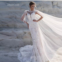 Beach Wedding Dresses Sleeveless Boho Wedding Dress with Shawl Backless Sexy Wedding Dress