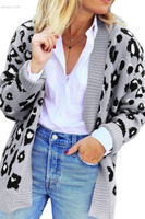 Leopard Print Knitting Cardigan Women's Outerwear Vest Fabric Suppliers