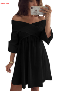 Crossed Smocking Off Shoulder Mini Dress Hot Formal Dress